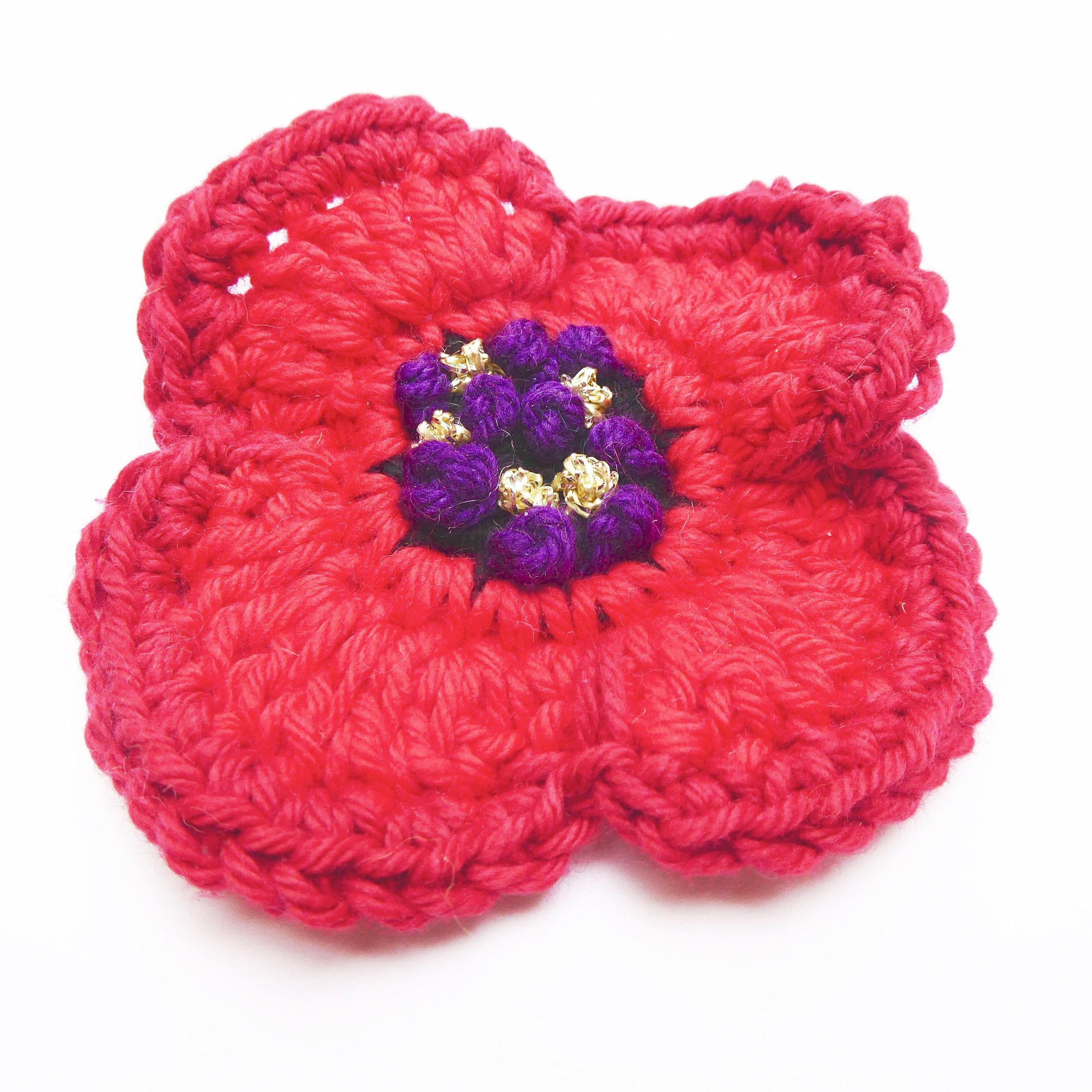 Crochet Remembrance Poppy with embroidery center