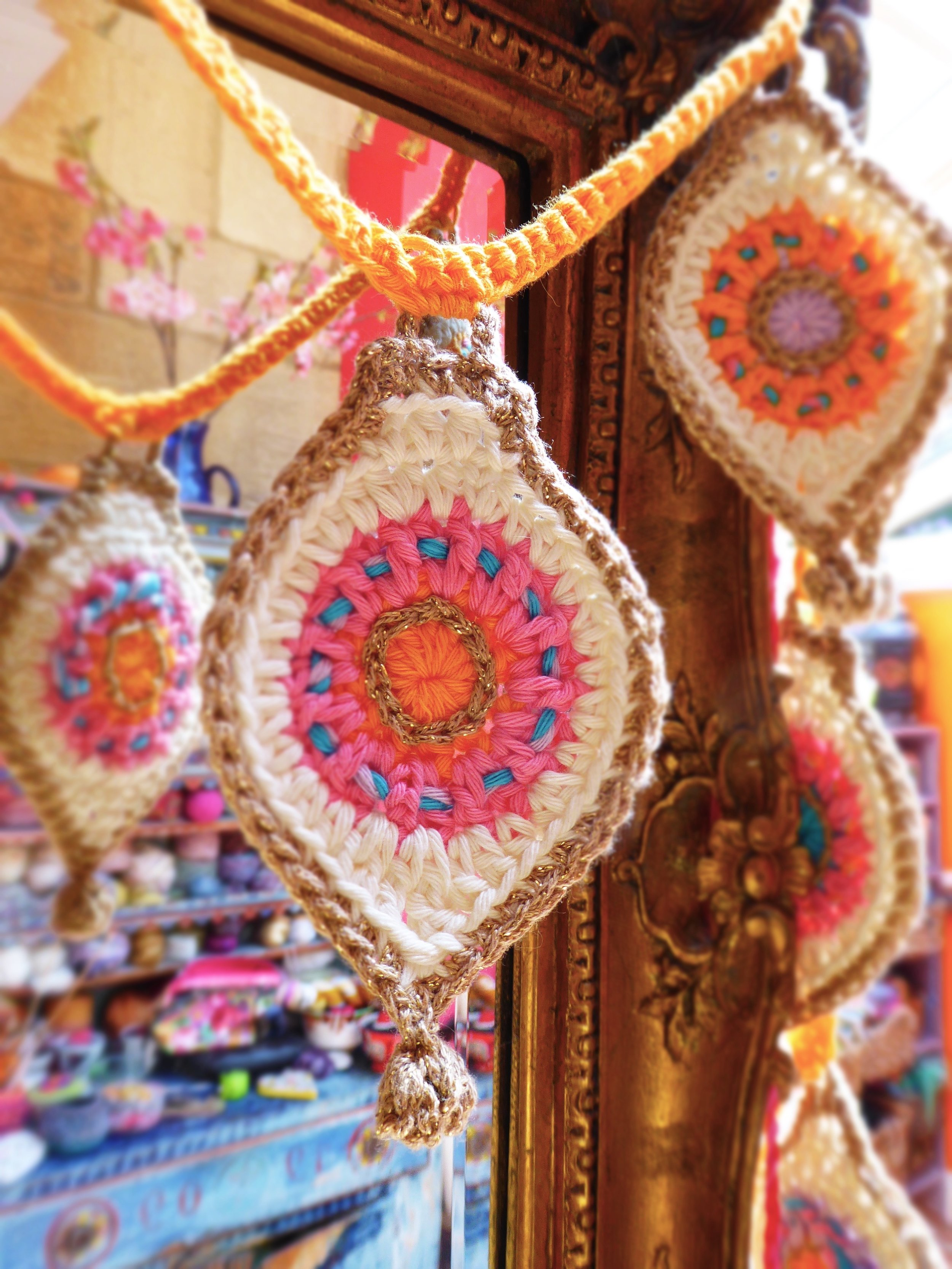Crochet bauble bunting by Emma Leith
