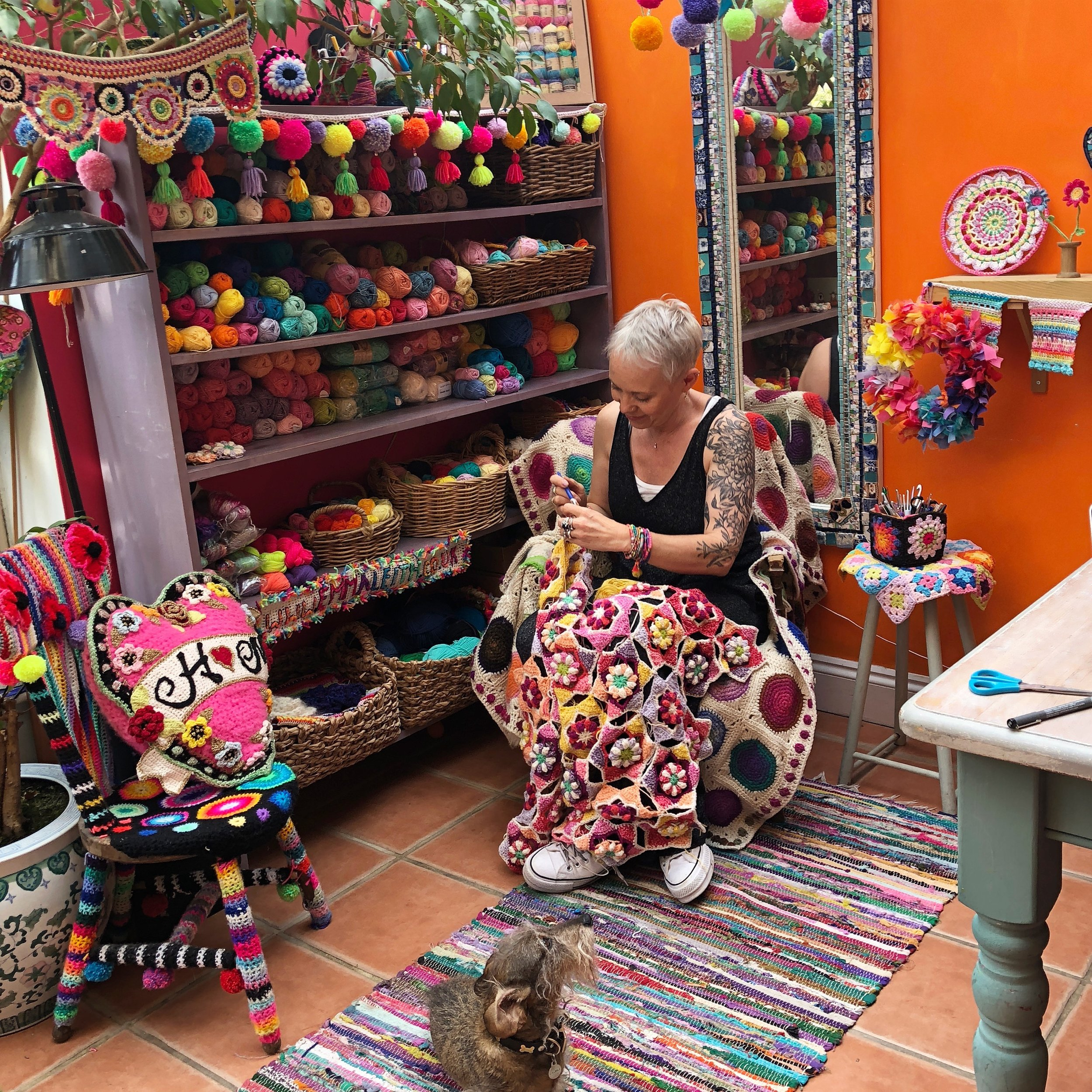 Crochet artist Emma Leith in her studio
