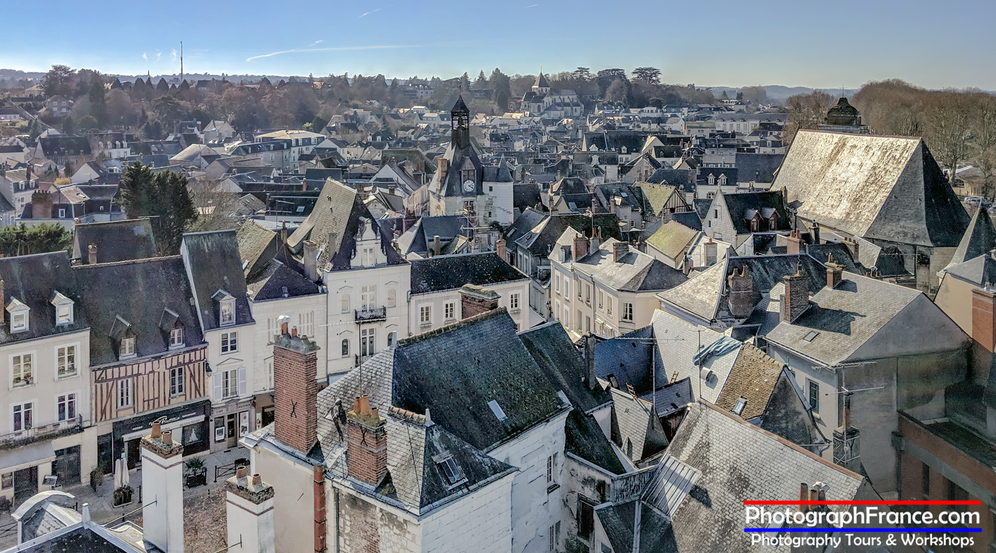 The town Amboise viewed from Château Royal d'Amboise