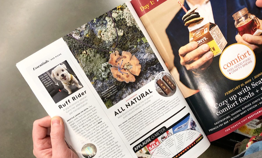 Seattle Magazine - February 2019 print issue. Essentials section.Online: Local Boutique Lichenology Brings Jewelry Back to Nature