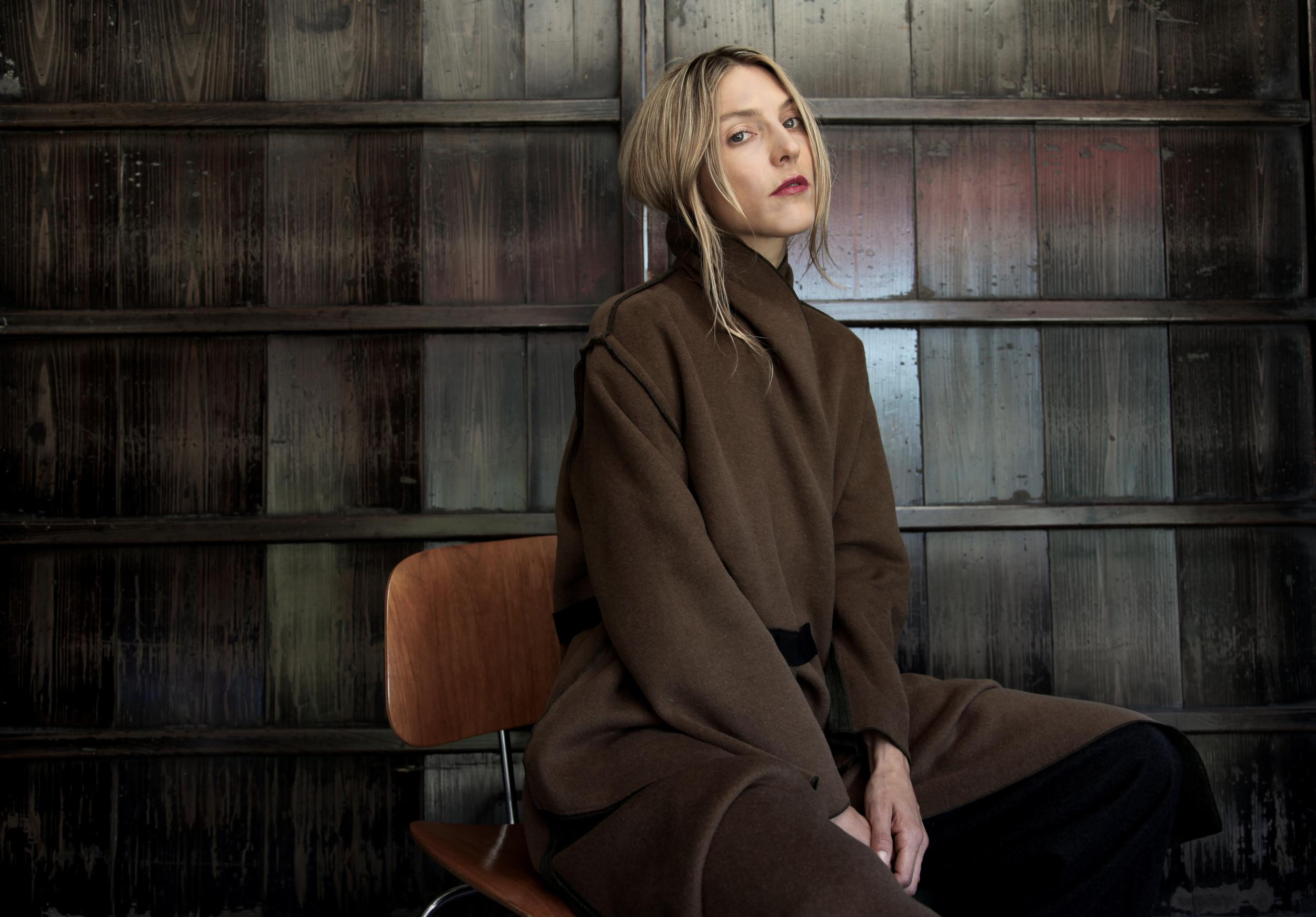 Amy wears the London Coat in double-sided wool.