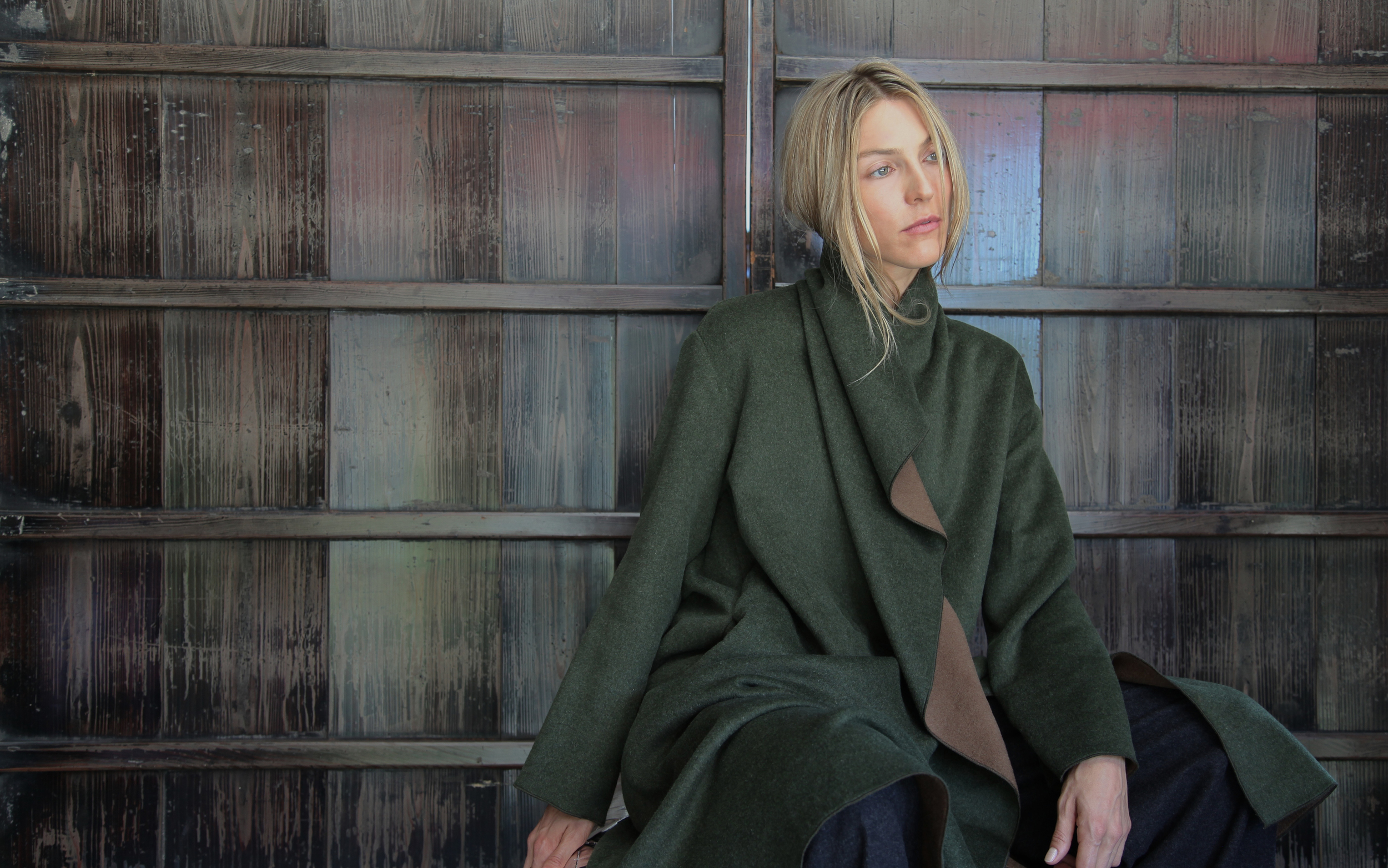 The London Coat worn right side out. Check your mailboxes – this image will be used for our fall mailer.