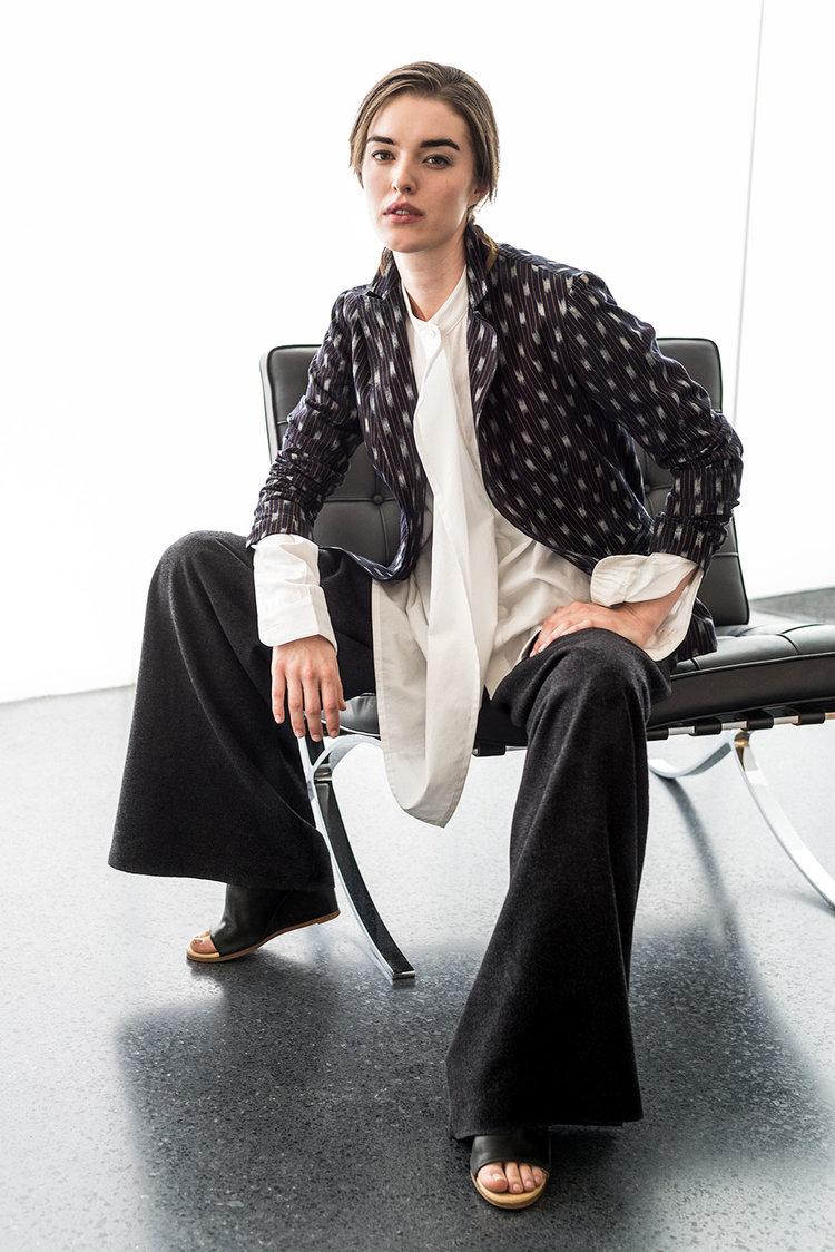 Kate Jacket in vintage Japanese indigo ikat;Tilt Shirt in Japanese cotton with asymmetric hemline; Wide-Leg Pant in Italian cashmere