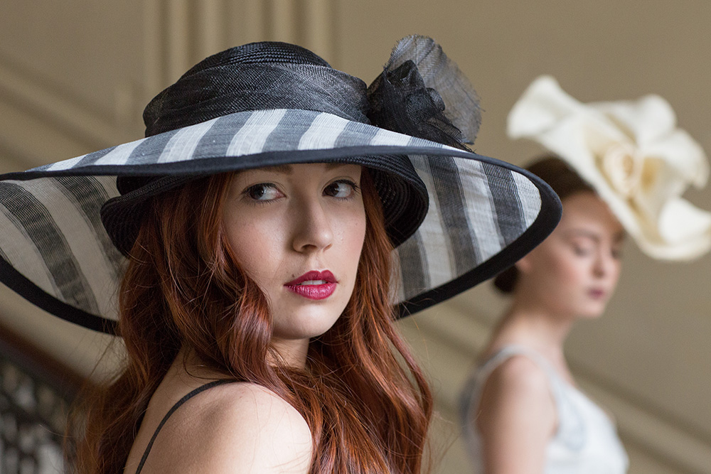 Amina's hats for the Derby Party at the Kansas City Museum.  Foreground:  Black and White Striped Sinamay Oversize Double Brim