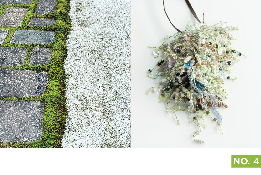 A bundle of jewels as if pulled from the sea, suspended from your neck. Right: Kaname Higa's Light Cluster Necklace.