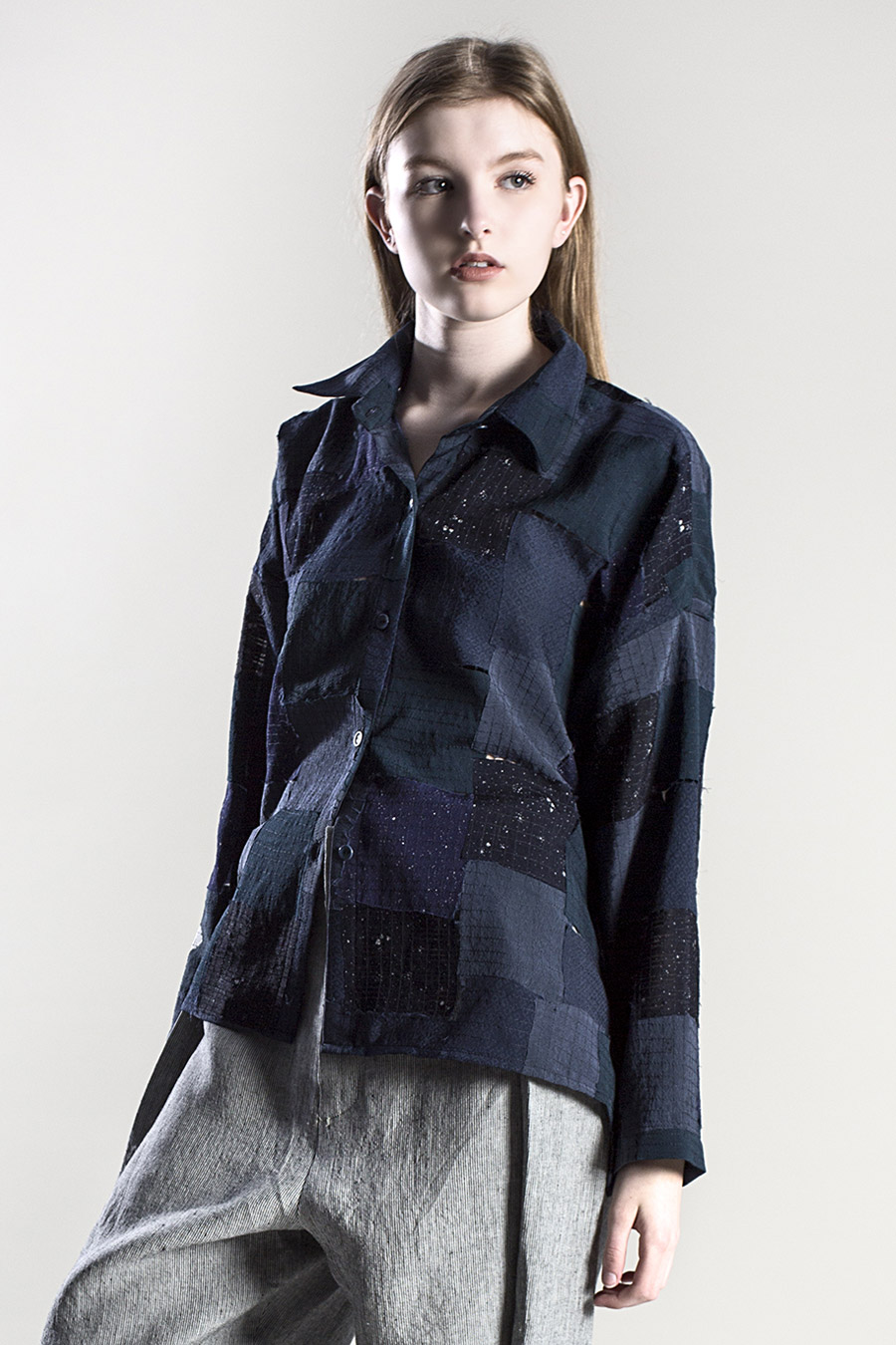 """Above:  Example of pairing even smaller scraps of vintage fabrics  –  Beverly Shirt in Blue """"Tiles"""""""