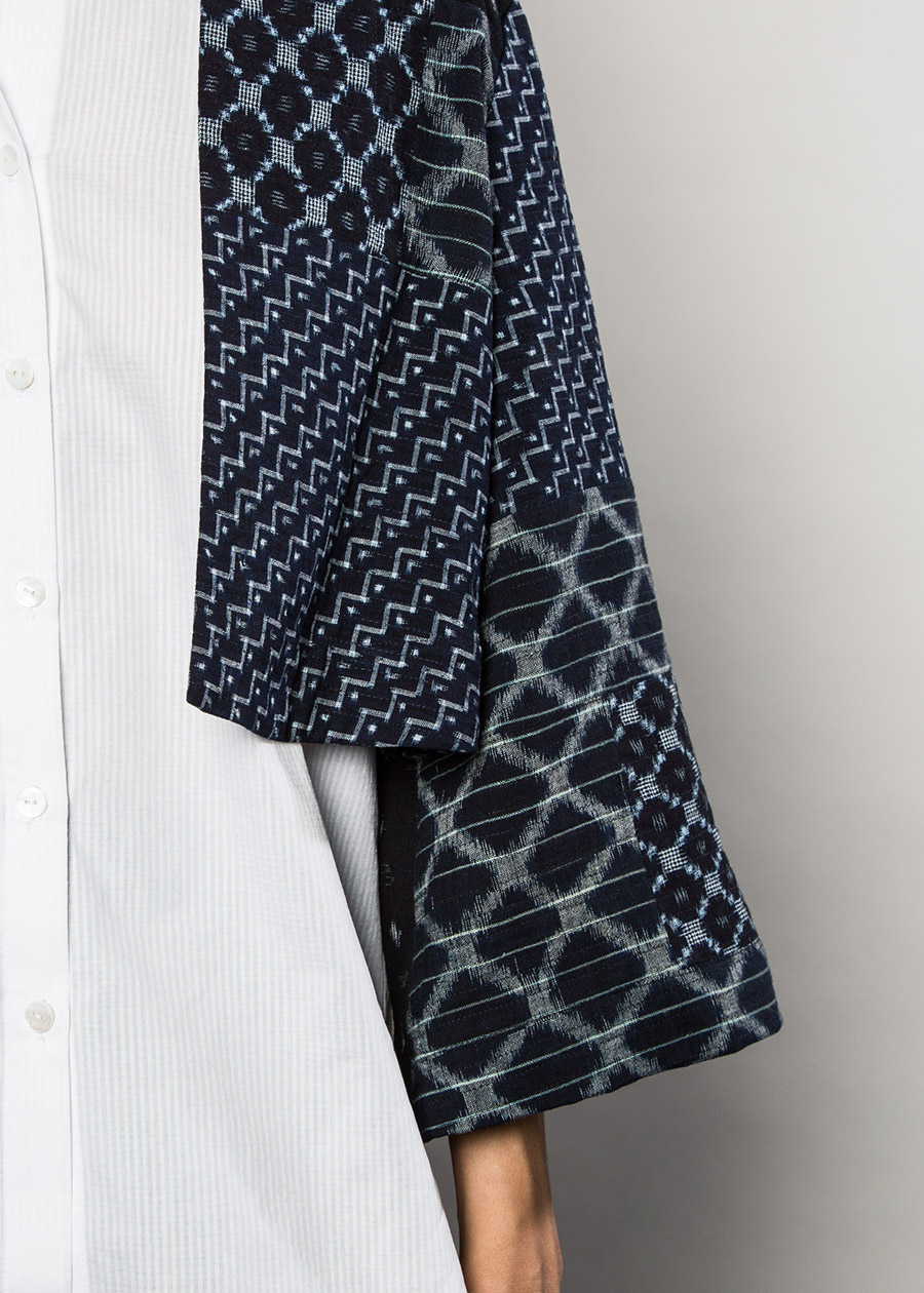 Above:  Example of pairing even smaller scraps of vintage fabrics  –  Temple Jacket in a Patchwork of Indigo Ikats