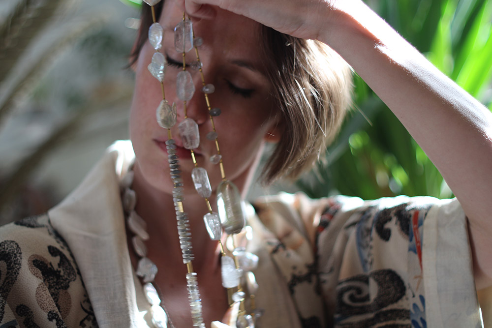 Janis Provisor Necklace of Pearls, Crystals and Semi-precious Stones
