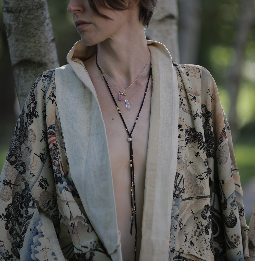 Chan Luu Leather Strand Necklace  and  Margaret Solow Crystal Shard on Silk Twist