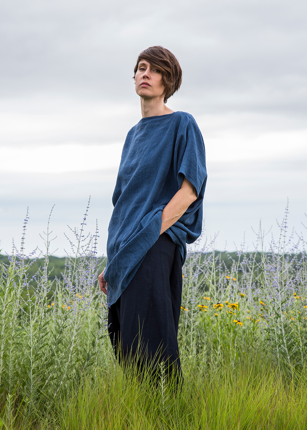 Wedge Dress in Blue Italian Linen