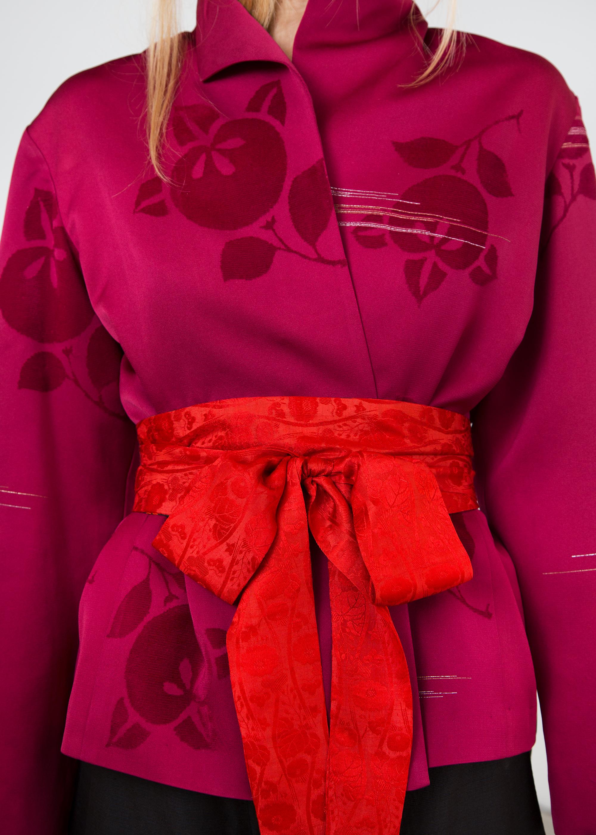 Wrap Belt in Vintage Red Silk Damask Reversing to Red and Black Silk Shibori (SOLD)