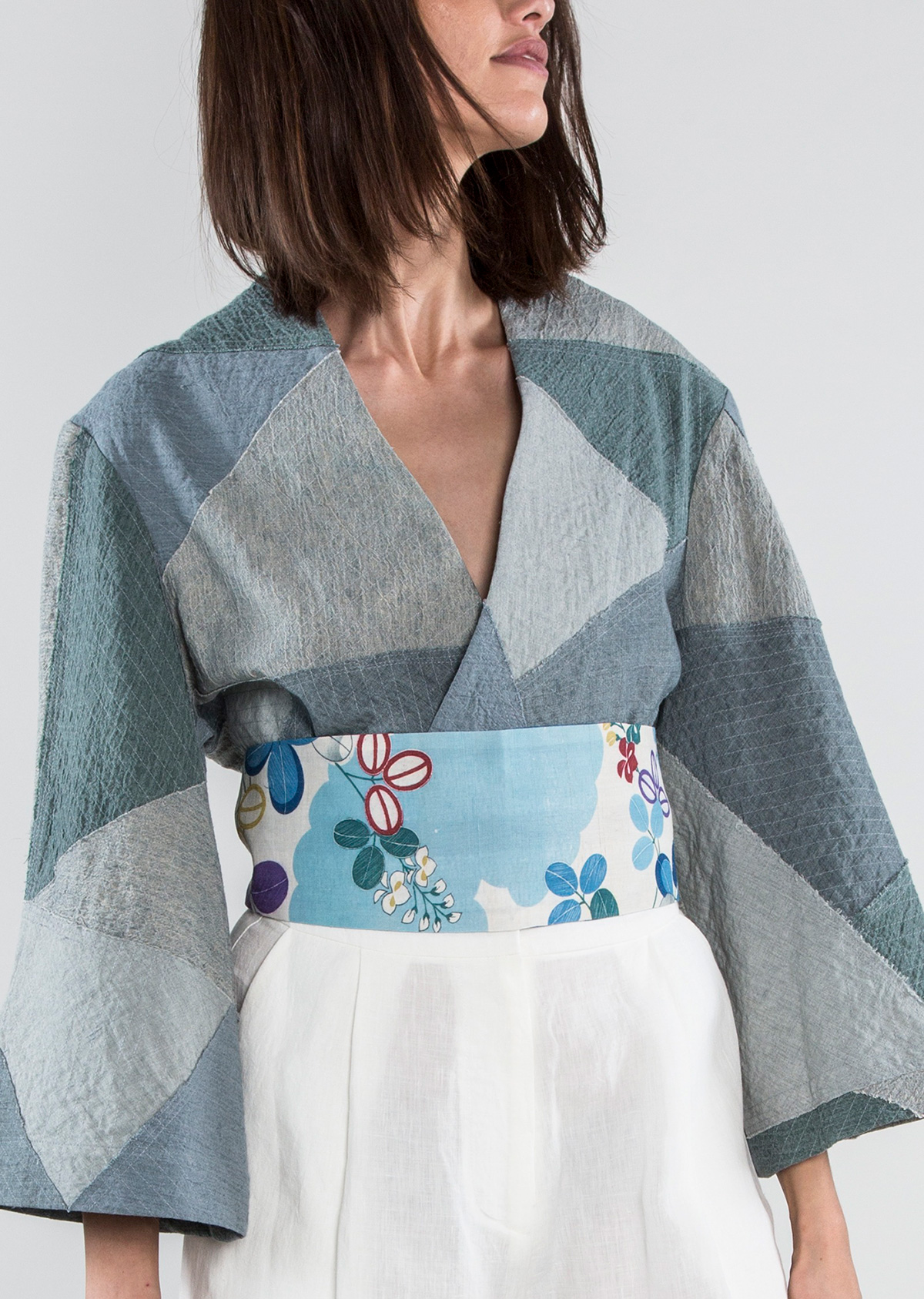 Wrap Belt in Vintage Japanese Linen Floral Reversed to Blue/Cream Tie Dye  $295