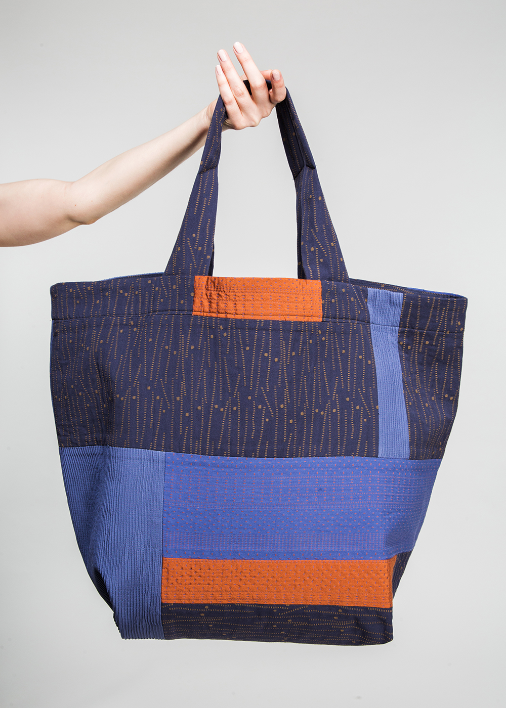 Big Bag in a Patchwork of Blue and Orange Contemporary Japanese Cottons and Nuno Textiles  $495