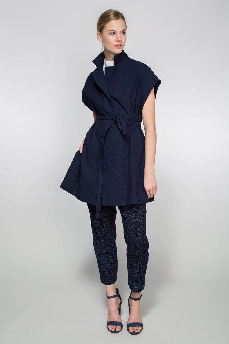 Elizabeth Vest in Indigo Japanese Cotton  $895