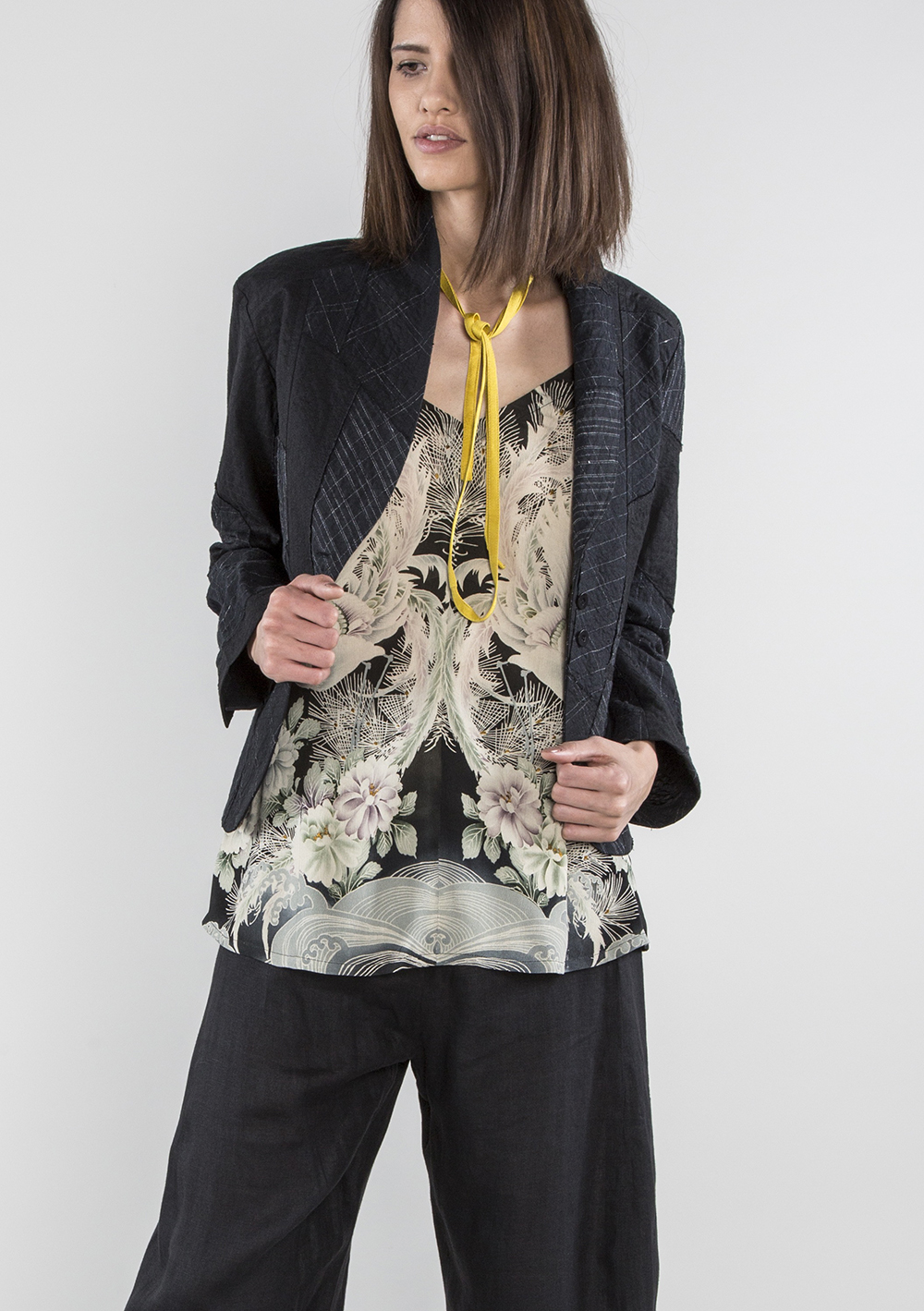 Camisole in Vintage Japanese Floral Printed Silk with Embroidery  $1,495