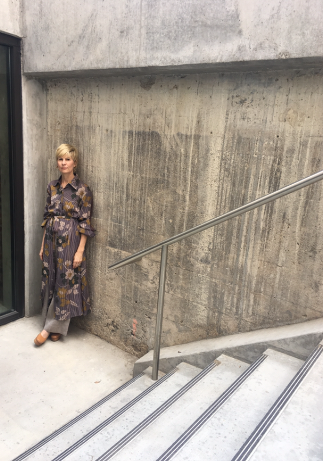 Doyle in a one-of-a-kind  Asiatica Ginza Dress in Vintage Japanese Grey/Purple Printed Floral Silk .