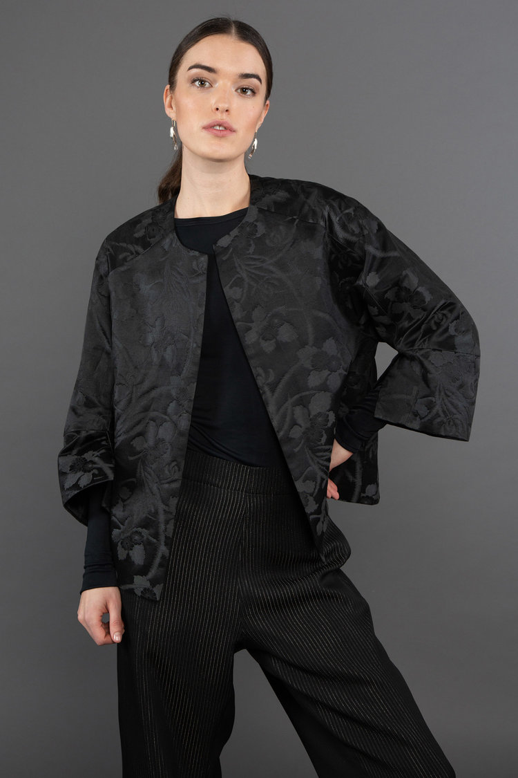 Party Jacket in Vintage Japanese Black Satin-Face Silk with Floral Pattern