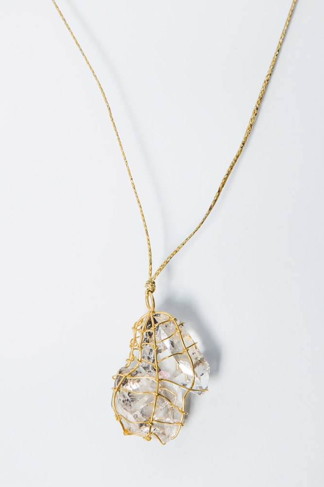 "Pippa Small 18K Gold Wrapped Herkimer ""Diamond"" Quartz Pendant  $1,900"