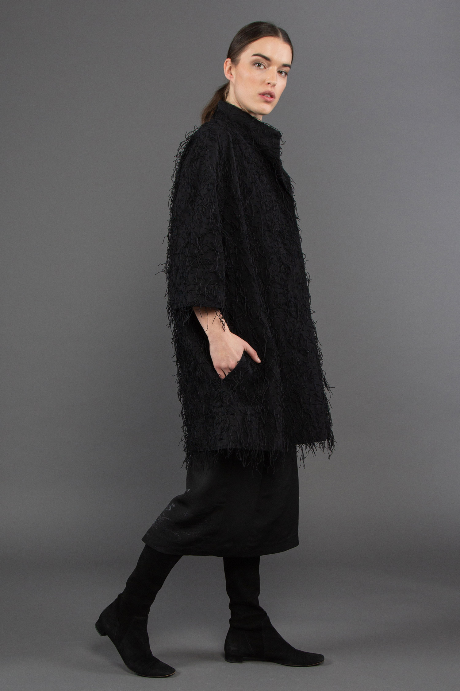"Dorothy Jacket in Nuno Black Cotton ""Shaggy"" Texture  $1,395"