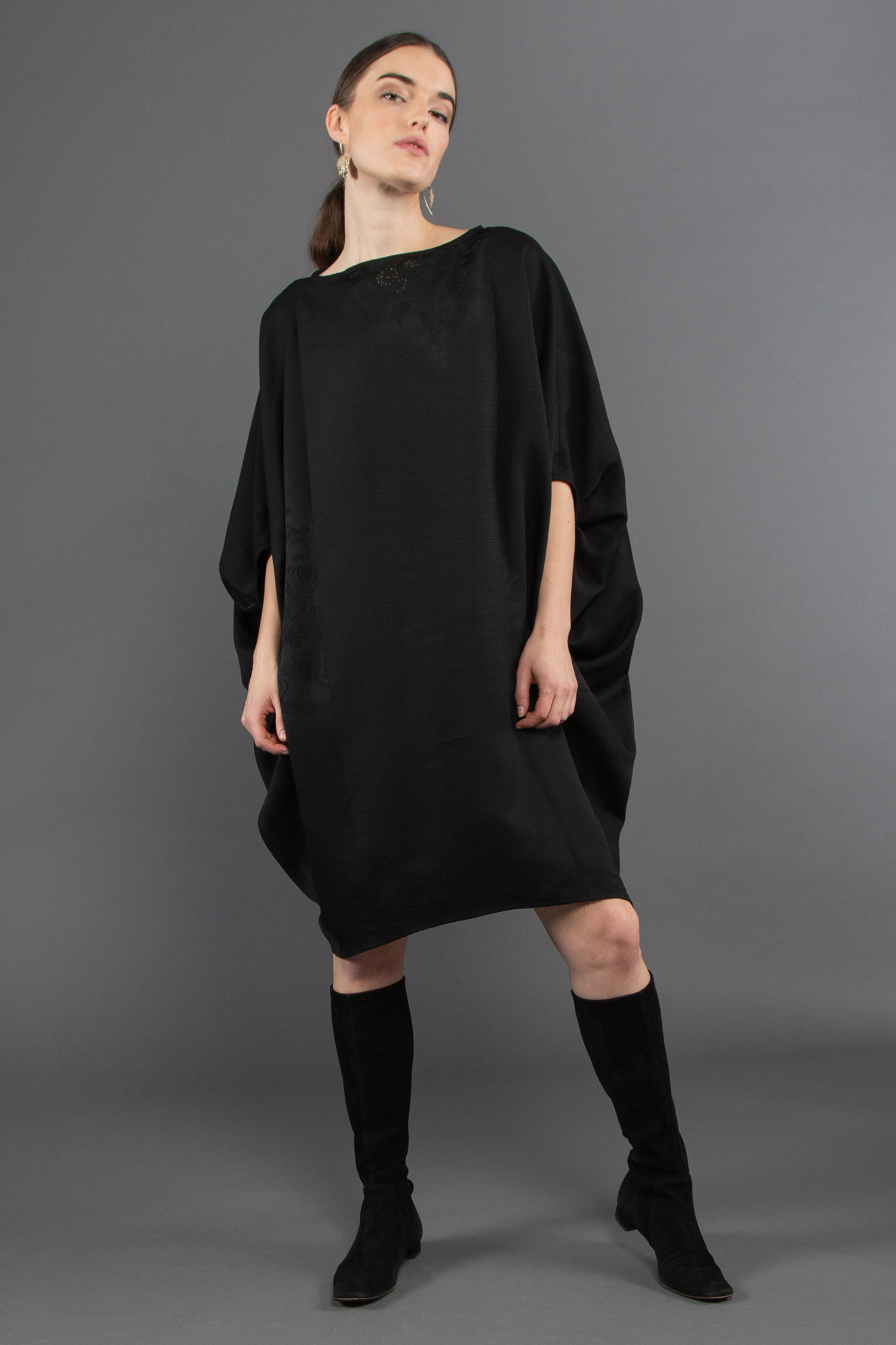 Tunnel Dress in Vintage Japanese Black Silk Damask  $1,695