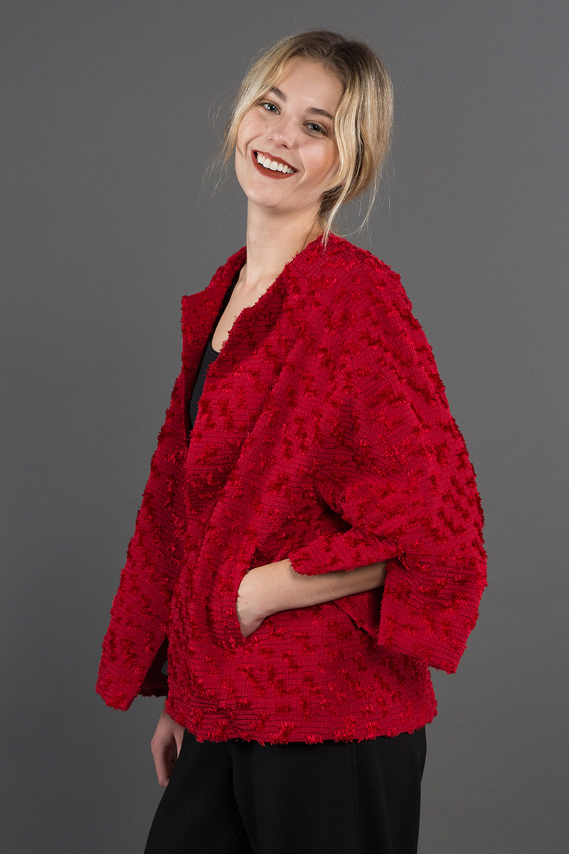 Party Jacket in Nuno Red Velvet  $1,395