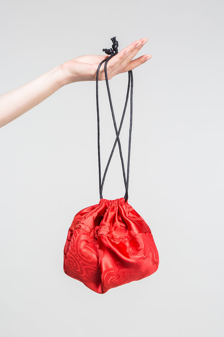 Large Bubble Bag in Vintage Red Silk  (SOLD)