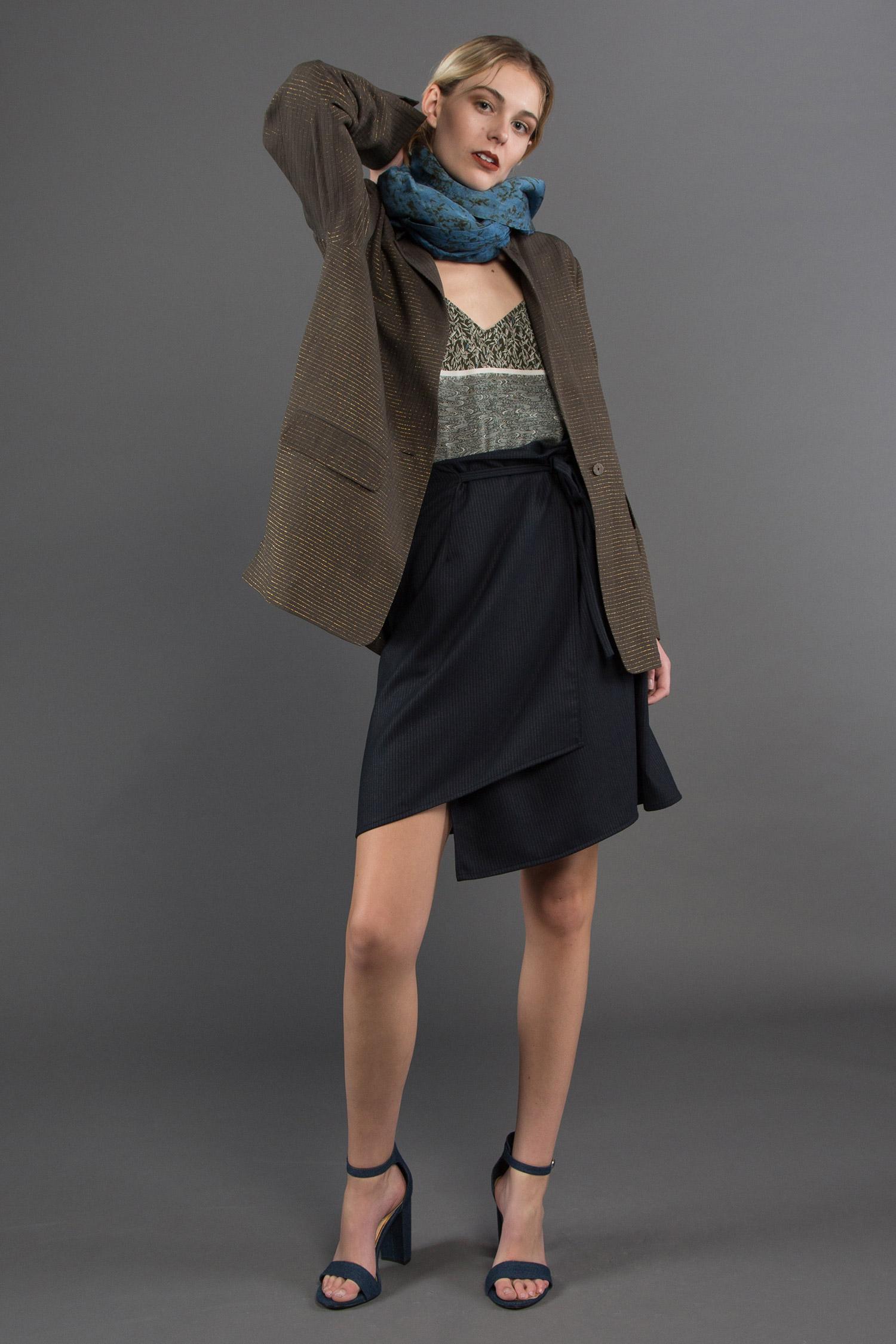E  asy Blazer + Camisole + Short Wrap Skirt + Dosa Indigo Scarf