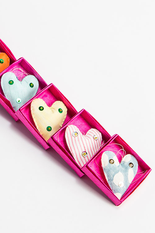 Pink Paper Boxes with Cloth Hearts  $9 each