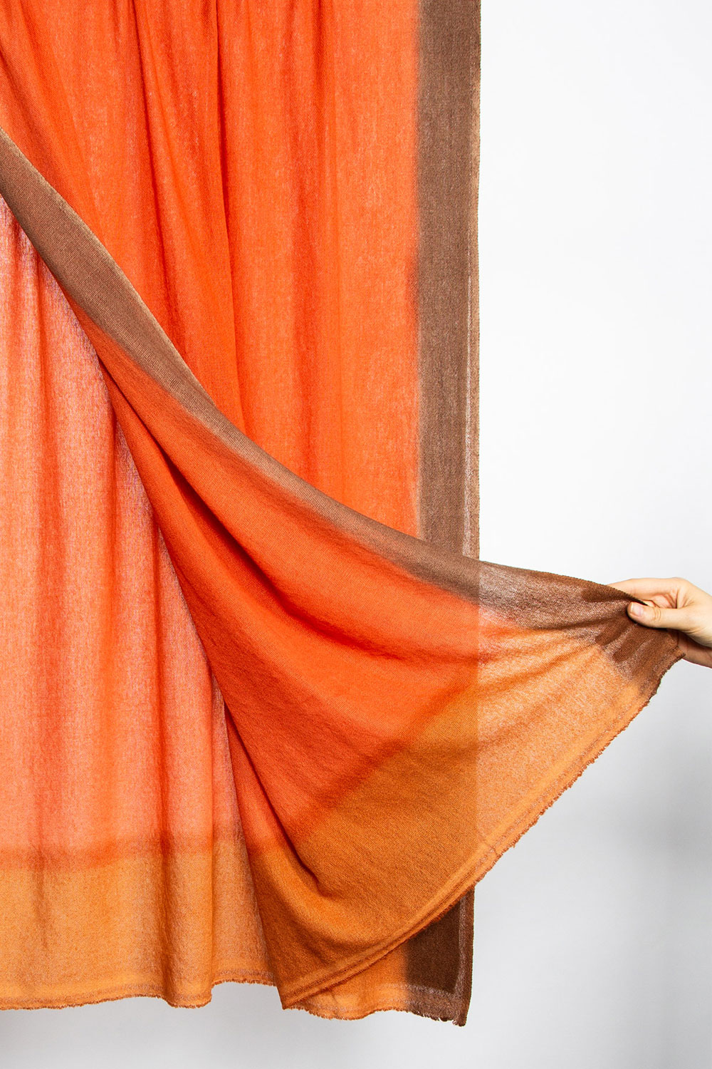 Bajra Cashmere Shawl in Variegated Oranges with Brown Border  $345