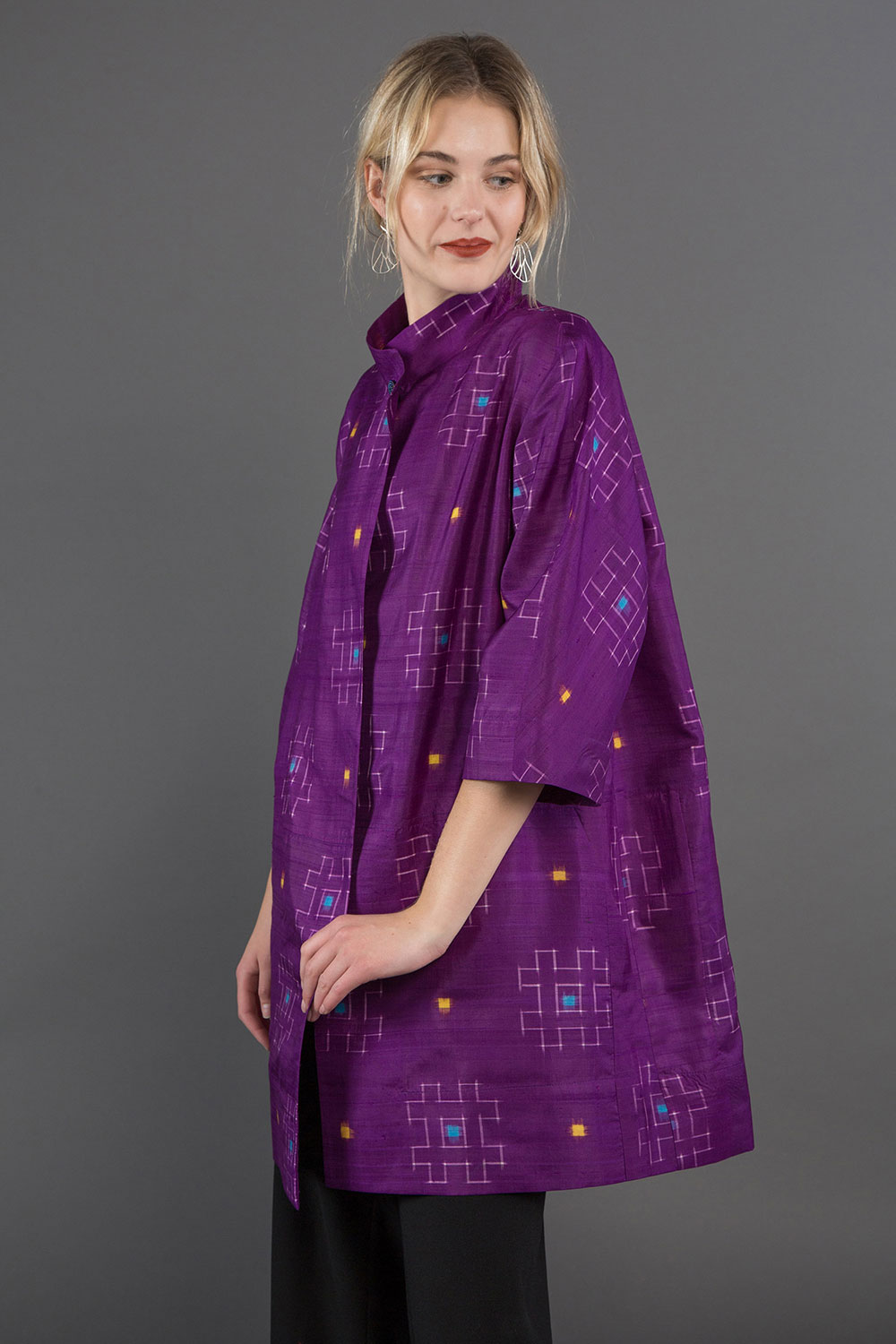 "Dorothy Jacket in Vintage Japanese Purple Silk Ikat ""Meisen""  $1,895"