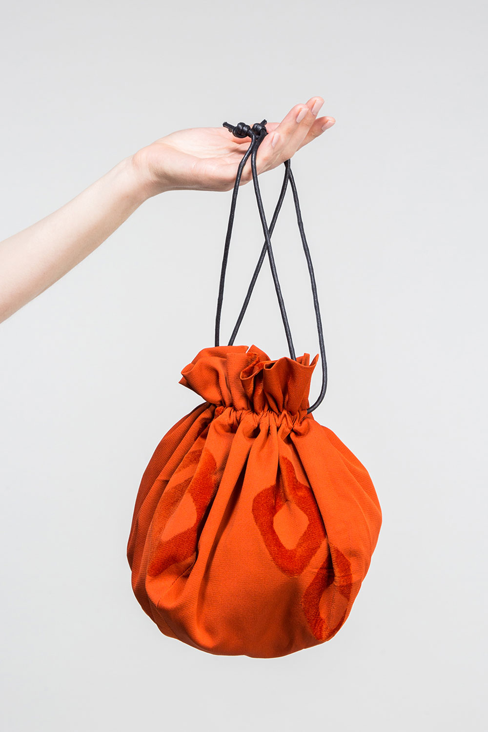 Marble Bag in Vintage Japanese Persimmon Silk with Velvet Geometric Shapes  $350