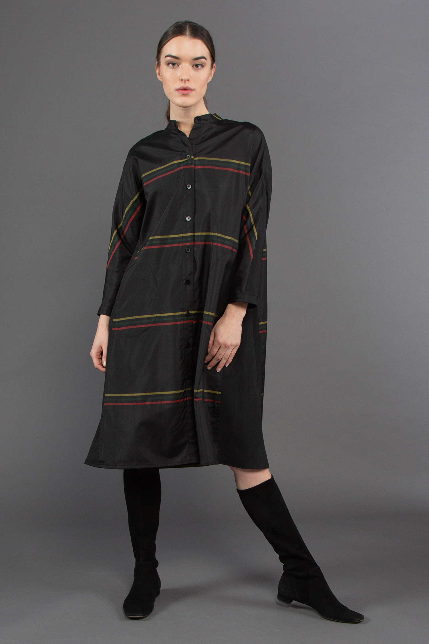 Japan Dress in Vintage Japanese Black Silk with Three Colored Stripes  $1,895