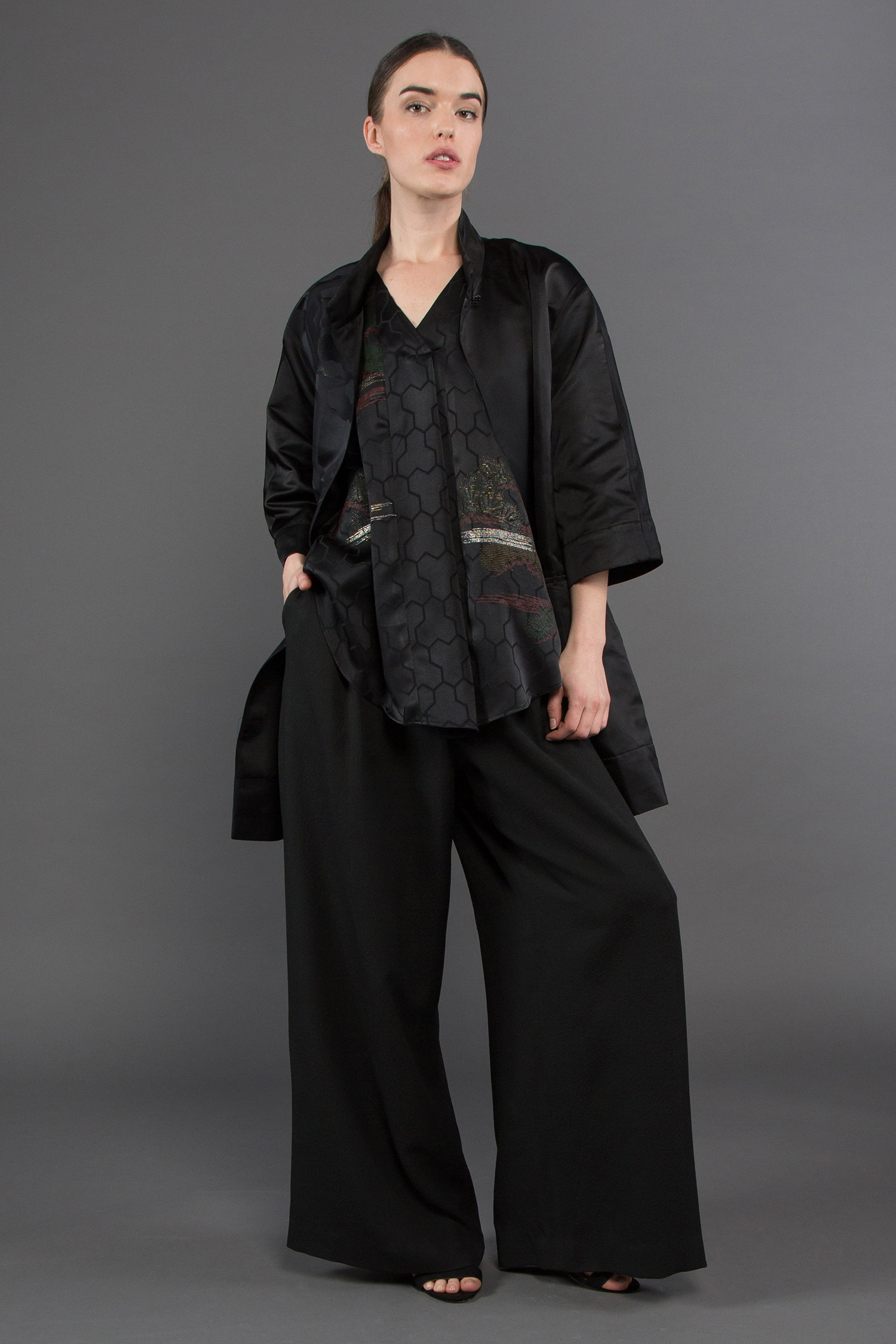 Dorothy Jacket + Tuck Top + Wide Leg Pant