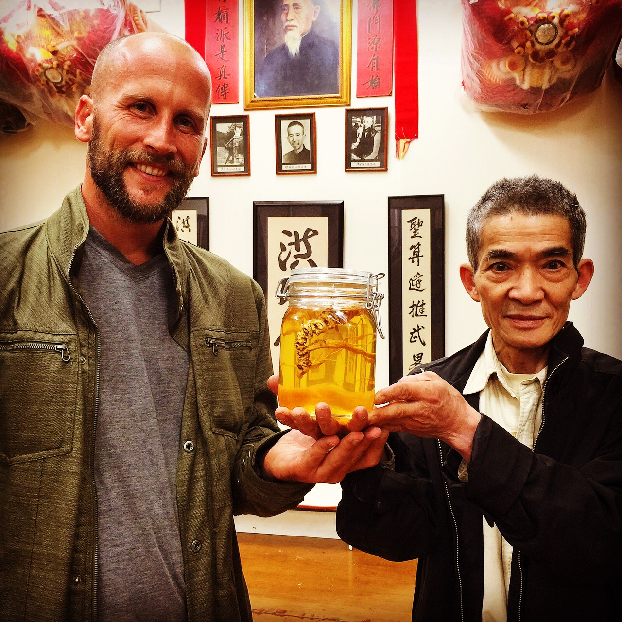 Presenting the Grandmaster some old wild American ginseng tincture.