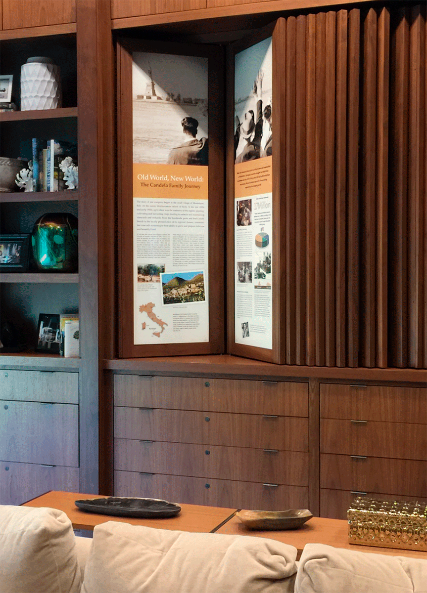 Company history display in a reception room of a prominent producer of Wisconsin cheese.