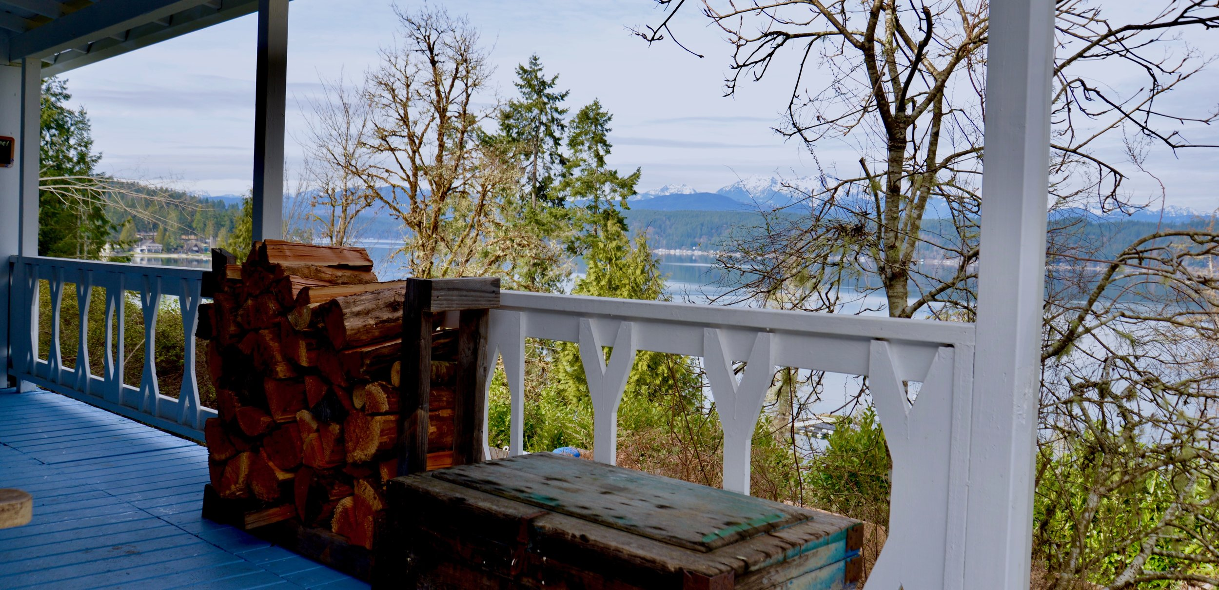 The Olympic view from the  Harmony Hill  cottage overlooking the Canal in Union, WA
