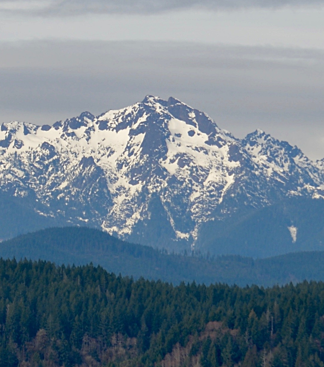 UNION, WA - The Traveler is visible in spring on the face of Mount Washington.