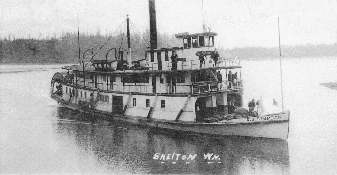 117' sternwheeler, S.G. Simpson in Oakland Bay, Shelton, circa 1911, making the trip from Shelton to Olympia in just 90 minutes on a outgoing tide. photo: Mason County Historical Society.