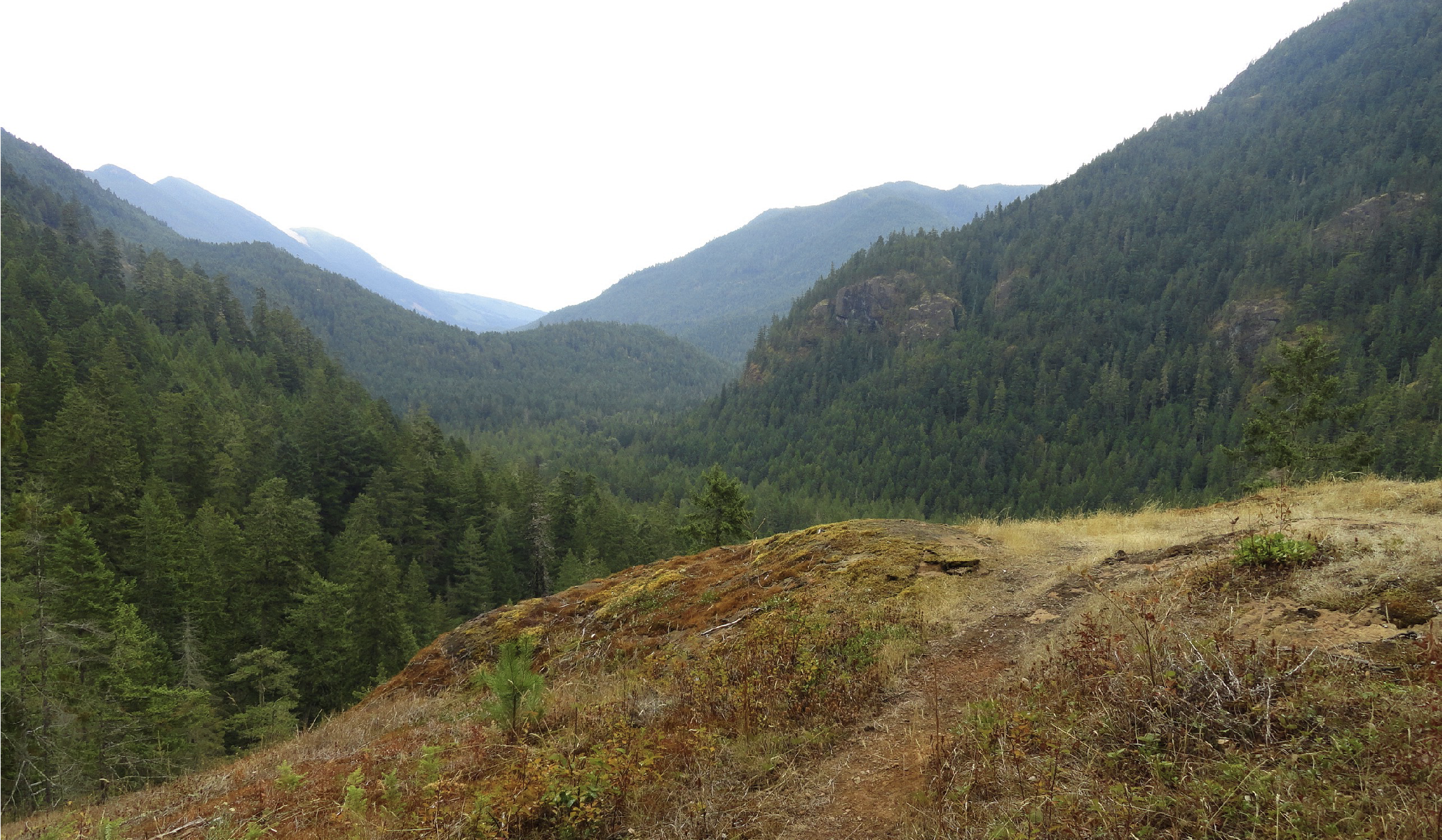 At a little over 3 miles come to a ledge with a spectacular view east down the river valley.