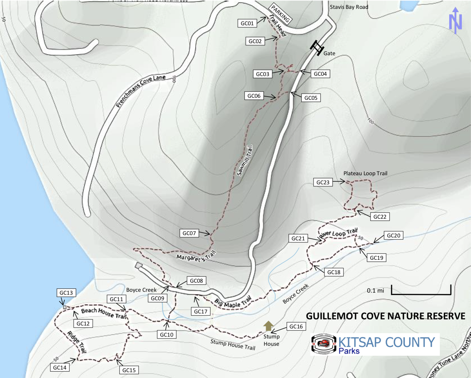The Guillemot Cove Reserve is managed by Kitsap County Parks |  Download map and trail guide