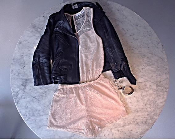 Adding a leather jacket, to this Vanity Room romper really gives it a grunge chic look that every girl loves! Pairing a romper with a comfortable pair of combat boots, will also bring this look together, whether it is for day or night.
