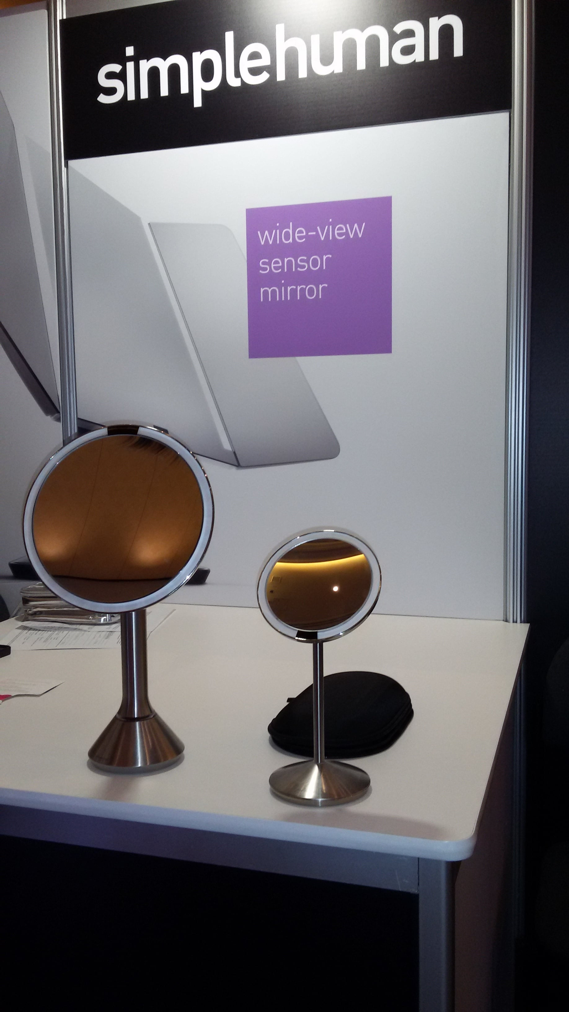 Simple Human this mirror turns on by sensor and gives you true sunlight. They also have a larger one which has an app where you can adjust the lighting depending on where you are going and time of day.No need to guess anymore about how your makeup will look once you leave your home.