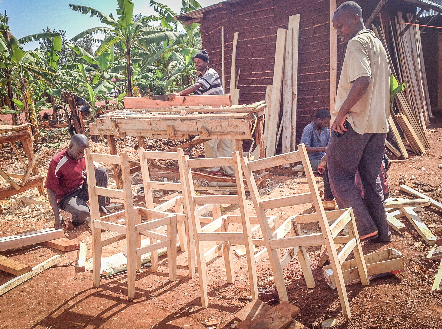 Constructing some of the chairs for the Multipurpose building