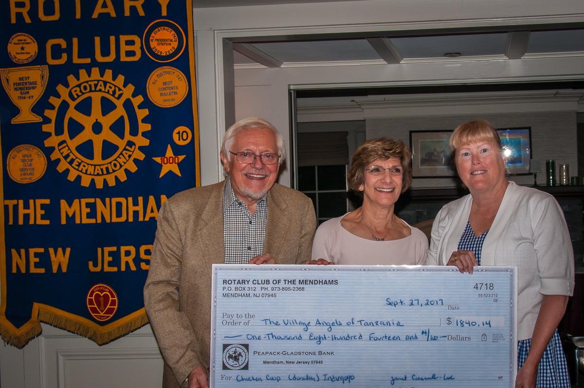 Sergio and Johann Burani with Mendham Rotary Club Member June Cioppettini, who spearheaded the Indiegogo Fundraiser.