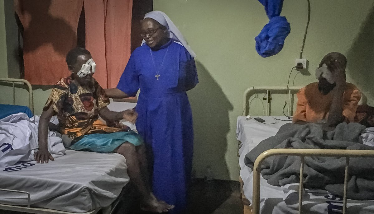 Mother General of the FSSB visited the elderly in the hospital following their eye surgeries. The Franciscan Sisters of Saint Bernadette is Sr. Dativa's religious order. It meant a lot to the elderly to have the Mother General visit them.