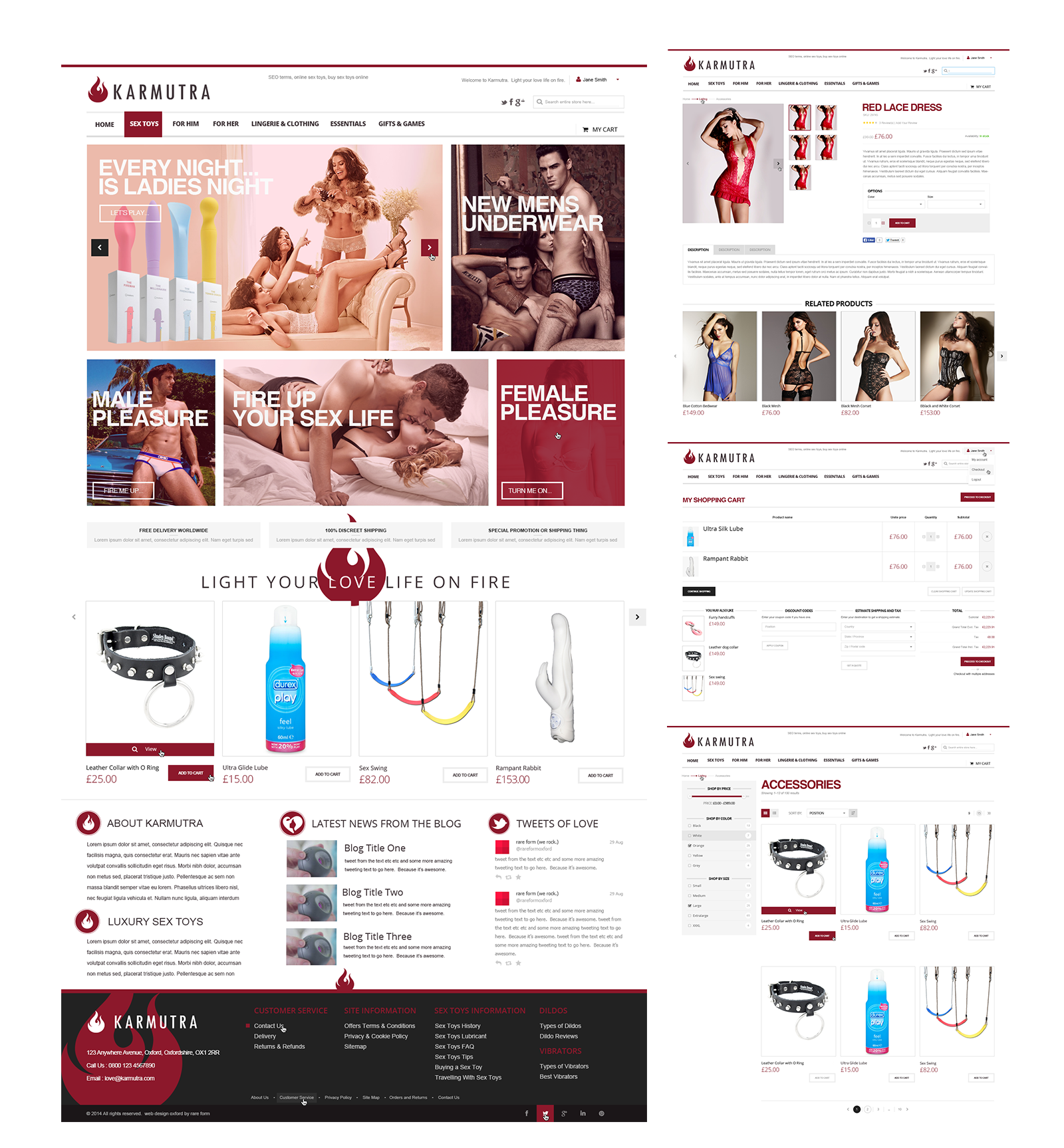 Website sample pages; LEFT homepage, RIGHT TOP product page, RIGHT MIDDLE checkout, RIGHT BOTTOM product pages
