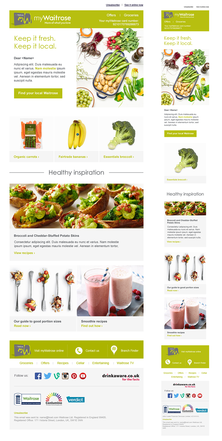 MyWaitrose example email