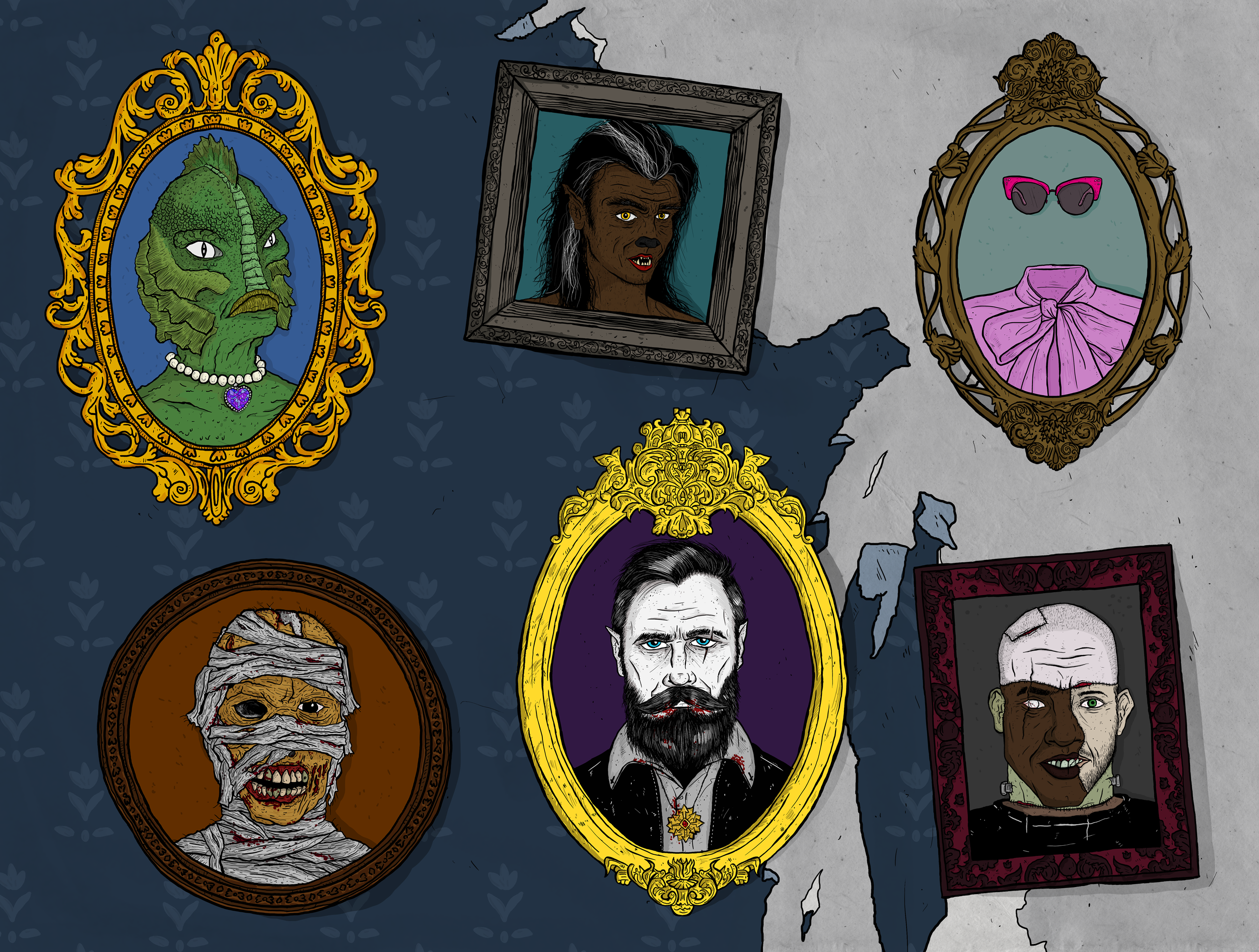 TOP LEFT TO RIGHT: Gillwoman, Shewolf, Invisible Woman BOTTOM LEFT TO RIGHT: Mummy, Dracula, Frankenstein's Monster