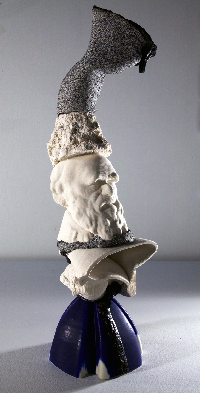 Romantic Realities  2019  3d printed porcelain, steel  23in. h x 8in. w x 8in. d